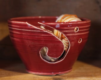 Yarn Bowl in Cranberry by Village Pottery PEI
