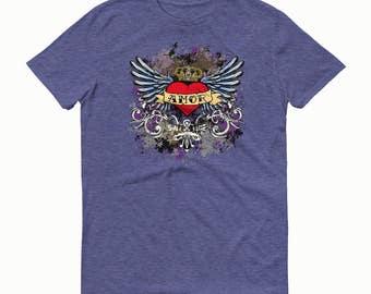 Amor T-shirt, Amor, Heart T-shirt, Boho Chic, Mexican Folk Shirt, Heart with Wings, Wings T-Shirt, Heart T-Shirt