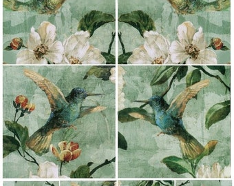 Hummingbirds 4x4 and 2x2 - Digital Collage Sheet - Instant Download