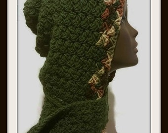 Crochet Hooded Scarf , Hooded Crochet Cowl , Crochet Cowl , Crochet Scarf , Hooded Cowl , Mothers Day Gift , Green with Earth Tone Boarder