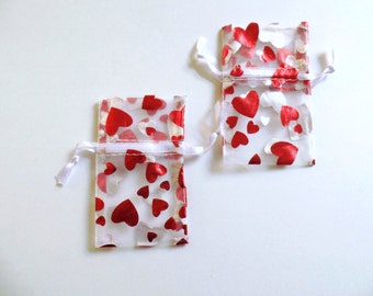 Valentines Organza Pouches Pack Of 12 1 3/4 wide X 2 Inches Long