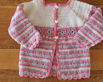knit, Cardigan, pink, gray, white, hand crocheted girl