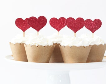 Heart Cupcake Toppers Red Glitter Valentines Day Party Supplies Bridal Shower Cupcake Bachelorette Party Cake Topper Alice in Wonderland