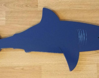 GREAT WHITE SHARK.....(over 2 feet wide) wooden wall display
