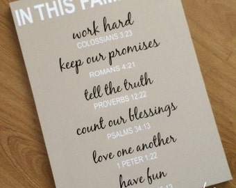 In This Family House Bible Quotes Canvas Psalm Proverbs Romans Colossians 1 Peter Work Promise Truth Fun Love God Religion