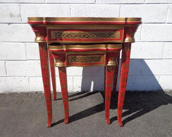 2 Nesting Tables Red Traditional Asian Country French Accent Side End Stacking Wood Shabby Chic Vintage Nightstand Antique Set of Tables
