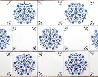 "Elegant Blue Sienna Rose Delft Design Ceramic Tile Center Inlay Layout 21.25"" x 12.75"""
