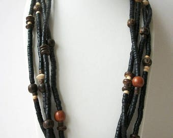 ON SALE Vintage Tribal African Very Long Chunky Hand Carved Wooden Clay Beads Necklace 41517
