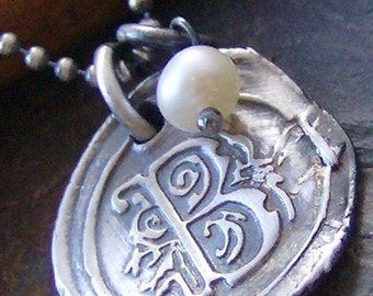 Vintage letters with pearl... hand stamped fine silver wax seal initial necklace
