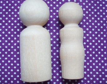 Unpainted Wood Doll Couples- DIY Wedding Cake Bride and Groom Toppers