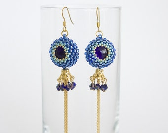Dangling Tassel Earrings with Crystals in Cobalt Blue, Turquoise and Gold Beads with Gold Chains Fringe. Long Earrings with Cabochon S188
