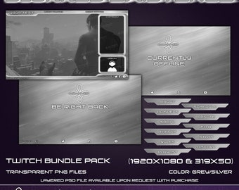 Blurred Existance - Twitch Overlay Bundle Pack - Grey Silver