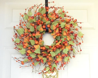 Orange Fall Wreath Fall Berry Wreath Autumn Thanksgiving wreath Grapevine twig wreath Orange berry garland