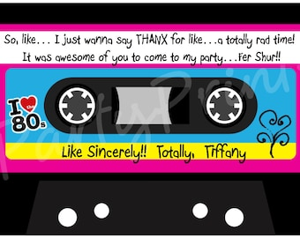Printable 80's Thank You Cards -  Personalized -  80's Cassette Tape