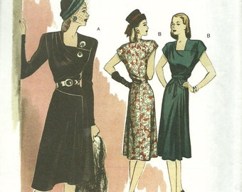 BUTTERICK PATTERN B5281, retro throwback of 1946, Butterick, new and uncut, ladies' career dresses, sizes 14, 16, 18, 20, and 22