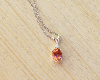 Anastasia Topaz Necklace, Silver Topaz Necklace, Sterling Silver Necklace, Pink Topaz Necklace, Peach Necklace, Orange Necklace