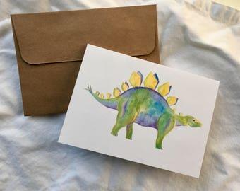 Dinosaur Card - Stegosaurus Note Card - Watercolor Dino Greeting Card - Set Pack of 5
