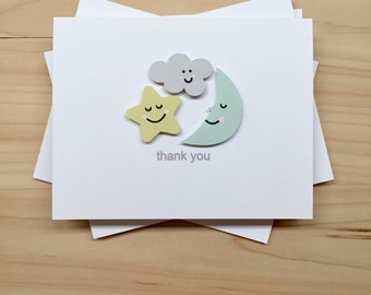 Baby Shower Thank You Card Set, Cloud Moon Star Thank You Cards, Cute Baby Party Thank You Cards