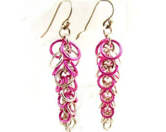Bright Pink Earrings, Sterling Silver Jewelry, Boho Earrings, Chainmaille Jewelry Gift for Her