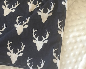 Minky Blanket- Buck Forest- Deer Blanket- Navy and Cream- Antler Theme- Deer Antlers- Silhouette- Woodland Theme- Deer Nursery