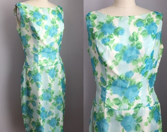 Vintage 1960s Chiffon Aqua Roses Cocktail Party Dress Size Medium