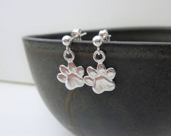 Paw print earrings, pet loss gift, paw print jewellery, pet gift, pet lover gift, pet loss jewellery