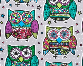 Multi-Colored Owls Cotton Fabric by the yard and by the half yard