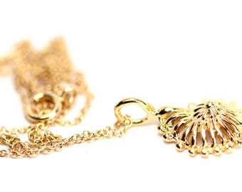 Ammonite necklace - spiral necklace - spiral shell - a gold vermeil ammonite shell on 14k gold vermeil chain
