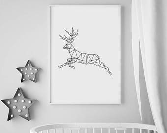 Geometric Animal Print, Printable Animal print, Deer art print, Geometric Deer Print, Digital Download Wall Art Prints, Large Animal Poster