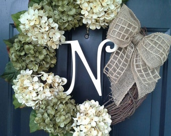 EVERYDAY Wreath, Monogram Wreath, Wreath with Letter, Year-round Wreath