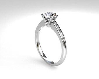 0.50ct GIA-certificated F-VVS1 Diamond ring, white gold, solitaire, engagement ring, Diamond engagement, unique, nickel free, Diamond