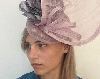 Sale Lilac heather pill box hat, wedding hat, royal ascot hat