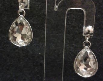 Drop earrings - silver bullet - glass 2.5 cm