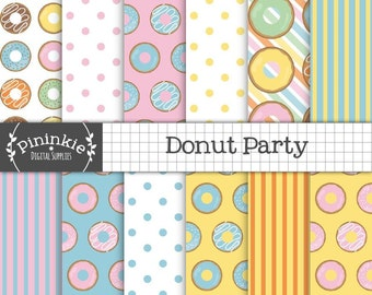 Donut Digital Paper, Birthday Digital Paper, Party Digital Paper, Instant Download, Commercial Use