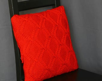 Knit pillow case, decorative pillow, cable pillow cover, cable knit cushion in red color