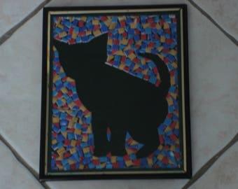 frame inside cat kitten silhouette is polystyrene hands