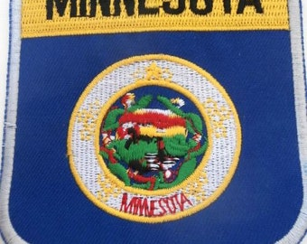 State Of  MINNESOTA  Shield Flag Embroidered Applique Patch Sew on