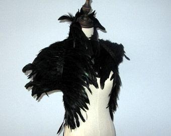 B 32 Zoll lang 2 Schicht Burlesque schwarze Hahn Coque Feder Shrug Cape wickelt Schal mit hohem Kragen für alle Erwachsenen