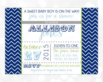 Boys Baby Shower Invitation - Chevron Baby Shower Invite Baby Boy Shower Invite Navy Blue Green Gray Printable Digital (Item #51)