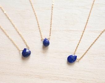 Lapis Lazuli Necklace,  Dainty gemstone necklace, 14k gold filled,Sterling Silver, Satellite Chain Necklace,September birthstone