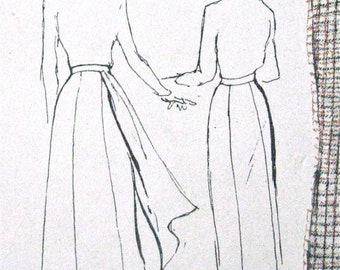 Spring Sale 1950s Side Drape Skirt Vintage Butterick 4996 Sewing Pattern  Waist 26 inches