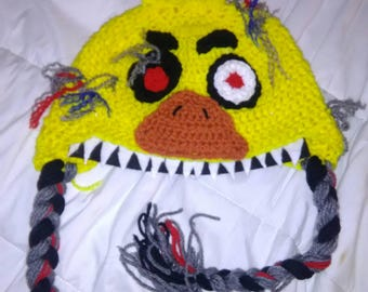 Five nights at freddy's nightmare chica crochet hat