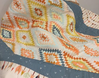 Aztec Baby Quilt, Tribal baby quilt, Kilim Baby Quilt, Gender Neutral Quilt, Baby bedding, crib bedding, baby blanket, aztec nursery, arrow