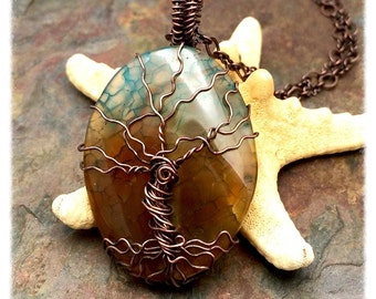 Earth and Sky Crackled Agate Gemstone Tree of Life Wire Wrapped Necklace, Christian Jewelry