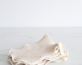Organic Natural Waffle Weave Cotton Washcloth Mitt, slightly smaller