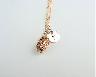Pinecone Necklace, Personalised Rose Gold Necklace, Initial Hand Stamped Disc, Personalised Necklace, Fall Necklace, Pine Cone necklace