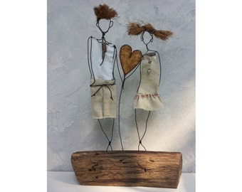 Driftwood sculpture, Gift him, Anniversary gift, Gift for her, Wire sculpture, Wedding gift, Home decor, Recycle wood, love gift, birthday