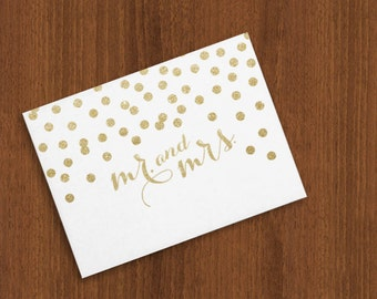 Mr. and Mrs. Gold Glitter Confetti Dots Shower / Wedding / Thank You Cards