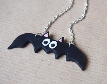 Bat Necklace Halloween Necklace ( bat jewelry halloween jewelry miniature bat kawaii jewelry polymer clay silver necklace bat pendant )