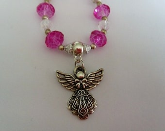 Pink angel necklace